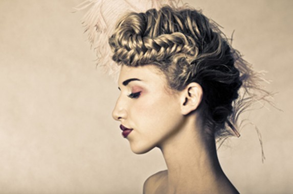light brown up-do